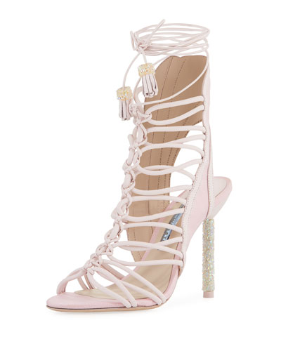 Lacey Crystal Bridal Sandal, Heavenly Pink