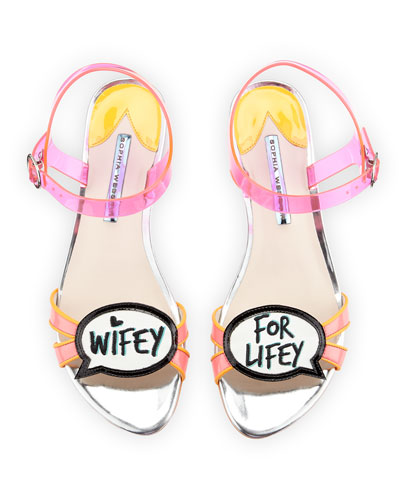 Ellen Wifey For Lifey Speech Bubble Sandal, Pink/Orange