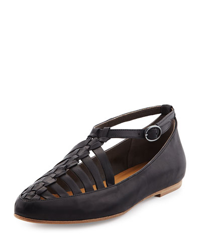 Pasque Caged Ankle-Strap Flat, Black