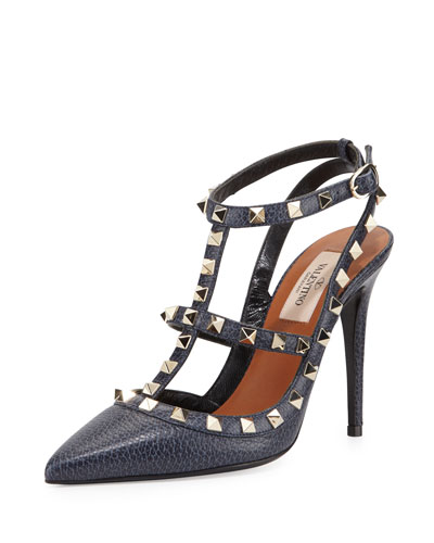 Rockstud Slingback 100mm Pump, Deep Denim