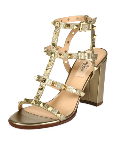 Metallic Rockstud 90mm City Sandal, Alba
