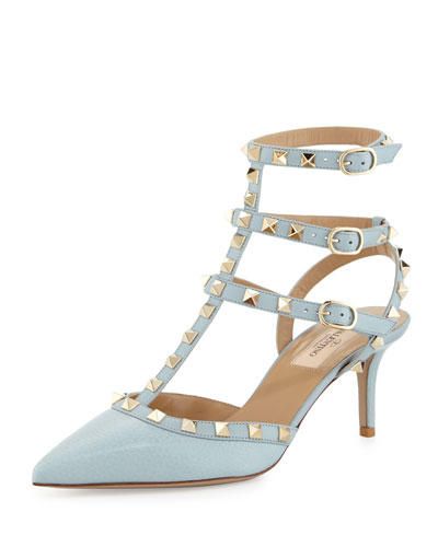 Rockstud Leather Mid-Heel Pump, Light Blue