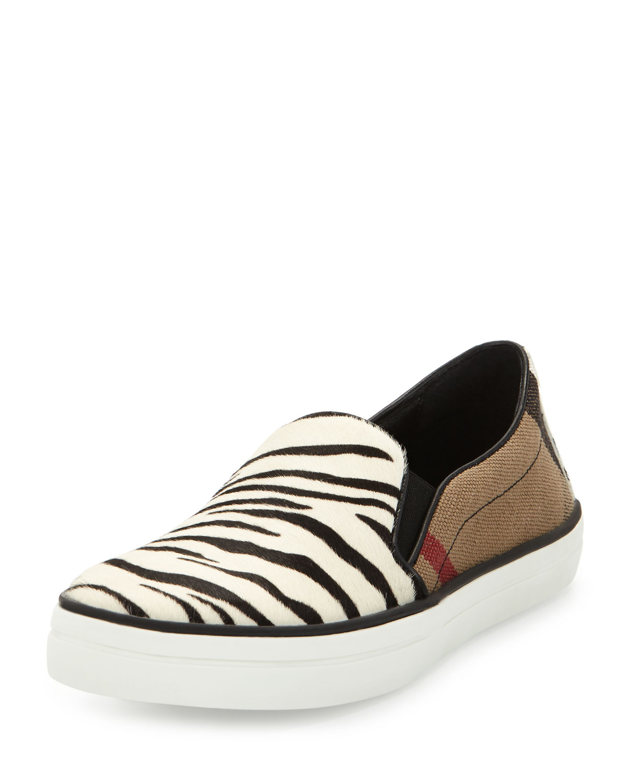 Gauden Check & Animal-Print Sneaker, Black/White