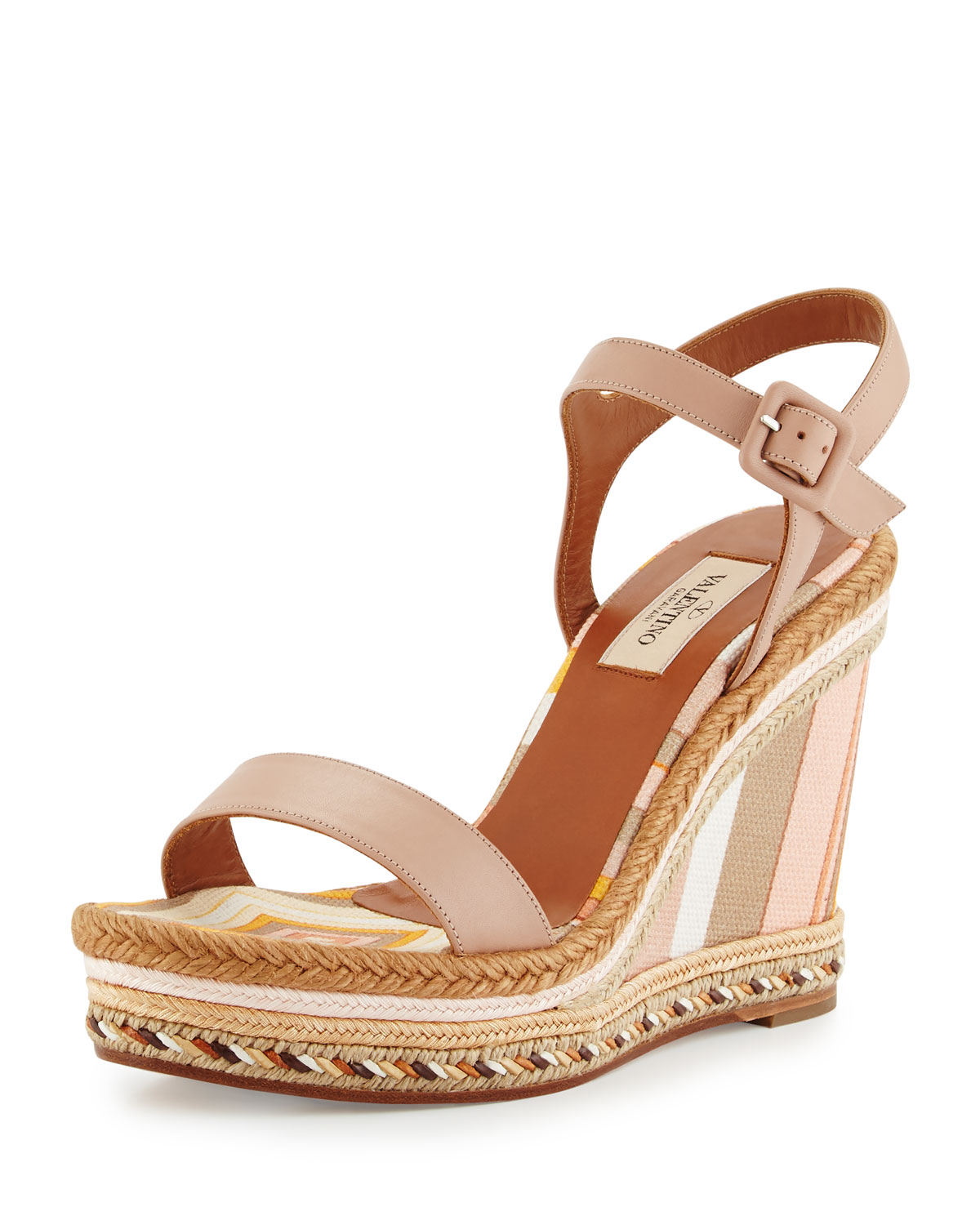 Striped Leather Espadrille Sandal, Skin Sandal/Mandarin
