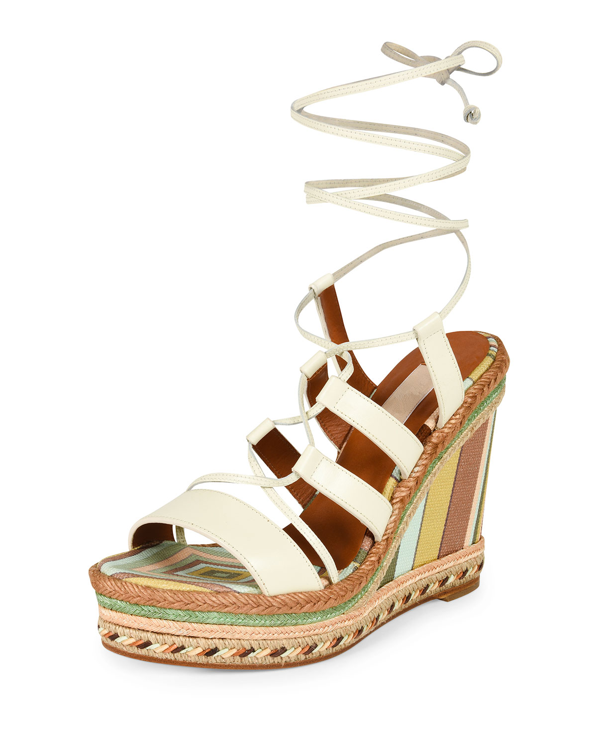 Leather Lace-Up Espadrille Sandal, Ivory/Green Tea