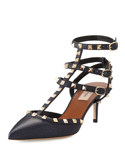 Rockstud Caged 65mm Pump,  Deep Denim