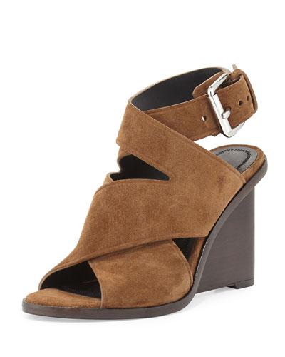 Elisa Suede Ankle-Wrap Sandal, Dark Truffle