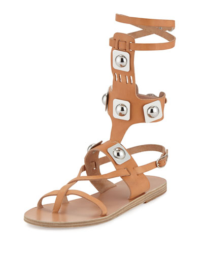 Peter Pilotto Low Studded Leather Gladiator Sandal, Natural
