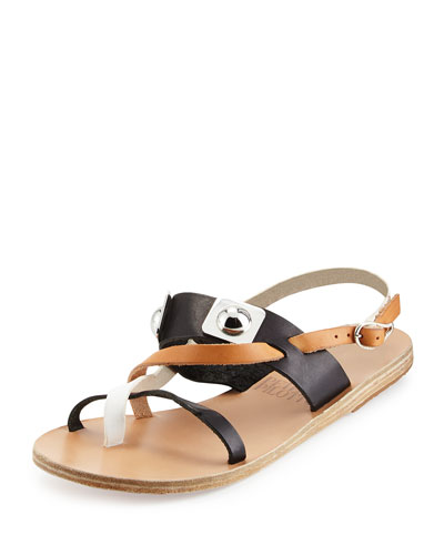 Peter Pilotto Alethea Colorblock Leather Flat Sandal, Natural/Black/White