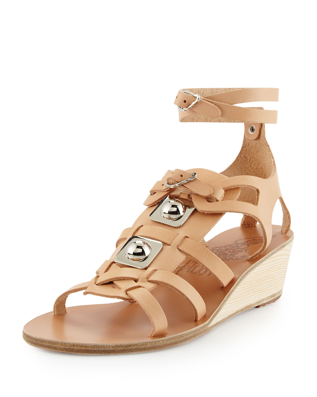 Peter Pilotto Leather Gladiator Wedge Sandal, Natural