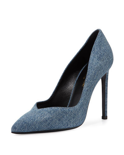 Paris Notched Denim Pump, Blue