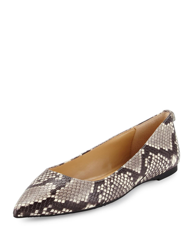 Arianna Snake-Print Pointed-Toe Flat, Natural