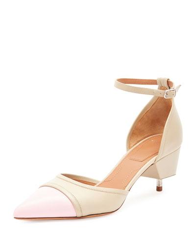 Cap-Toe Screw-Heel Pump, Beige/Pink