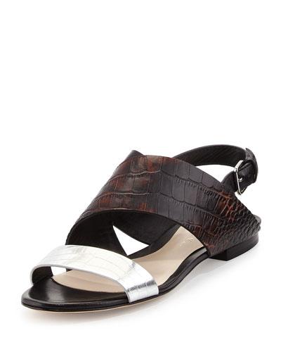 Crocodile-Embossed Flat Sandal, Antique Brown