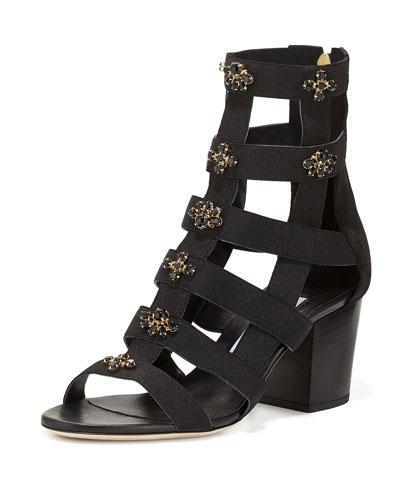 Jewel 65mm Elastic Cutout Sandal, Black