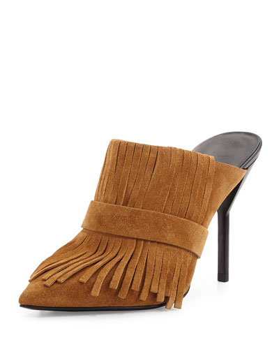 Fringe Suede High-Heel Mule, Oak