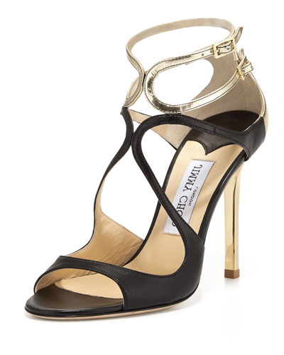Lang Metallic Leather Strappy Sandal, Black/Light Platinum