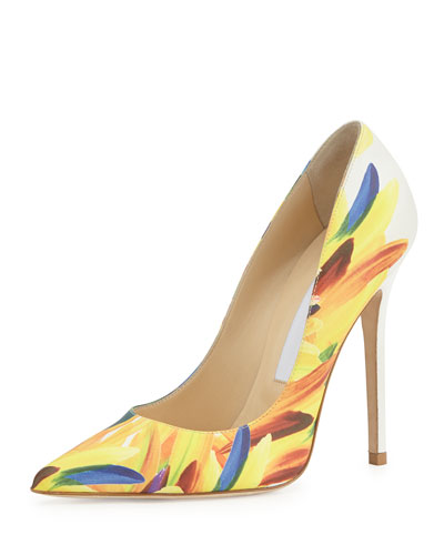 Anouk Feather-Print 120mm Pump, Multi