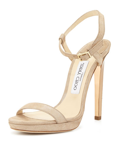 Claudette Shimmery Leather 120mm Sandal, Nude