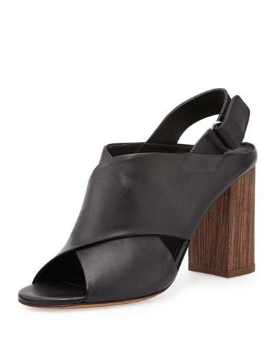 Faine Chunky-Heel Leather Sandal, Black