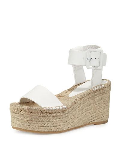 Abby Leather Espadrille Sandal, Plaster