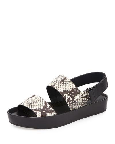 Marett Snake-Embossed Platform Sandal, Black/White