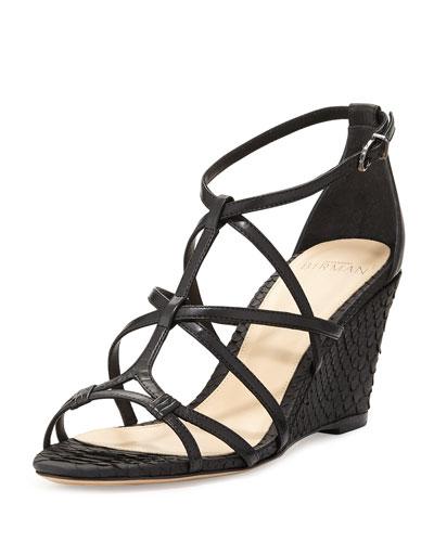 Mallica Python/Leather Wedge Sandal, Black