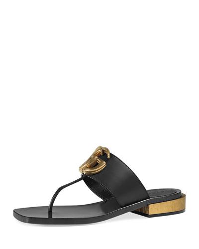 Marmont Logo Leather Thong Sandal, Nero