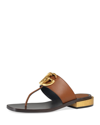 Marmont Logo Leather Thong Sandal, Cuir