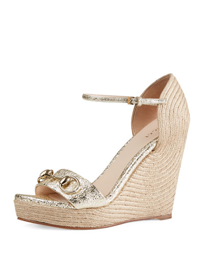 Carolina Metallic Wedge 85mm Sandal, Platino