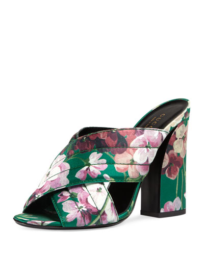 Webby Floral-Print 110mm Sandal, Bright Emerald