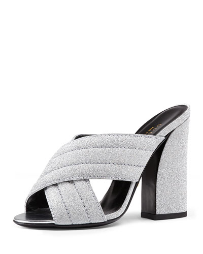 Webby Glitter 110mm Sandal, Argento