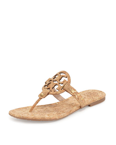 Miller Cork Logo Thong Sandal, Natural Gold