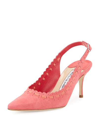 Ciabol Scalloped Suede Slingback Pump, Pink