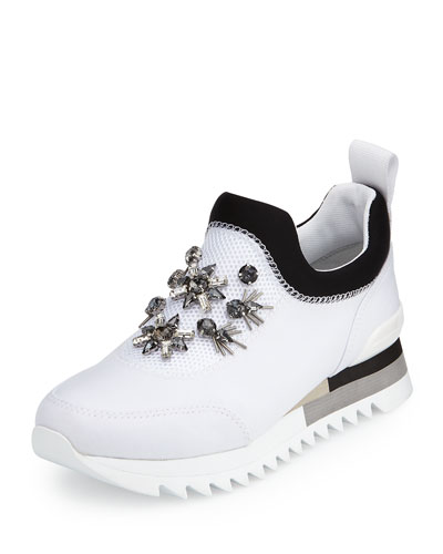 Rosas Embellished Runner Sneaker, White/Black