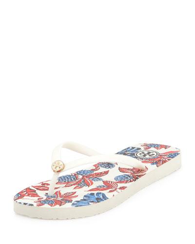 Thin Rubber Flip Flop Sandal, Ivory