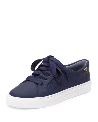 Marion Quilted Leather Low-Top Sneakers, Bright Navy