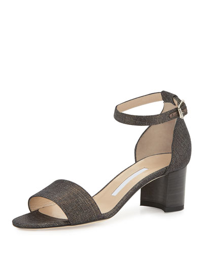 Lauratomod Denim Ankle-Wrap Sandal, Metallic Wash Denim