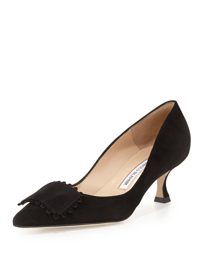 Bottopla Square-Detail Suede Pump, Black