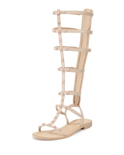 Giselle Studded Gladiator Sandal, Nude