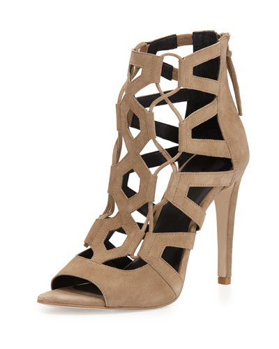 Roxie Caged Suede Sandal, Taupe
