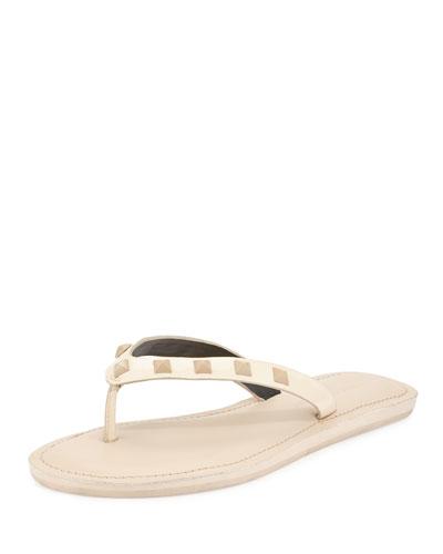 Fiona Studded Thong Sandal, Nude
