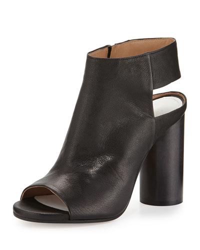 Leather Open-Toe Cylinder-Heel Bootie, Black