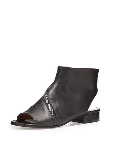 Asymmetric-Zip Leather Flat Bootie, Black