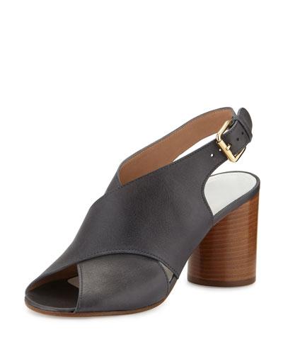 Leather Crisscross Cylinder-Heel Sandal, Navy