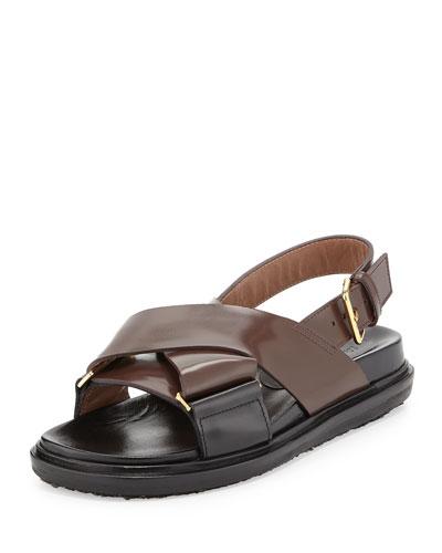 Leather Crisscross Slingback Sandal, Chocolate/Coal