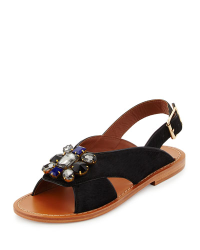 Jeweled Calf-Hair Flat Slingback Sandal, Black