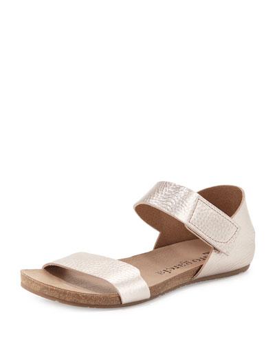 Juci Flat Metallic Leather Sandal, Sirocco