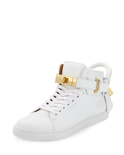 Women's Padlock & Key Pebbled Leather Sneaker, White