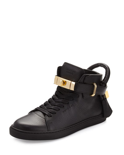 Women's Padlock & Key Pebbled Leather Sneaker, Black